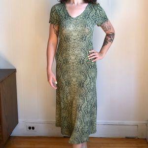 vintage slinky snakeskin maxi dress